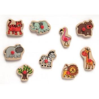 zoo zwierzęta puzzle i pieczątki