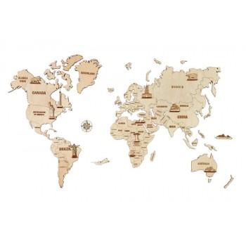 Mapa świata 3D - drewniane...