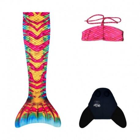 Monopłetwa ogon syreni Coral + Bikini