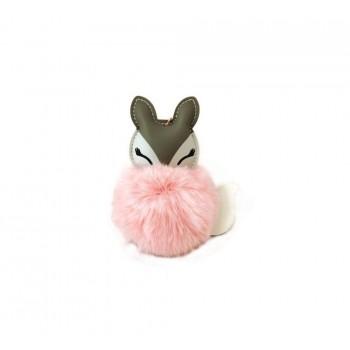 Brelok z pomponem różowy lisek